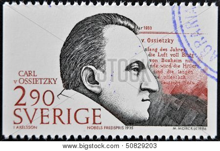 Sweden - Circa 1986: A Stamp Printed In Sweden Dedicated To Nobel Peace, Shows Carl Von Ossietzky