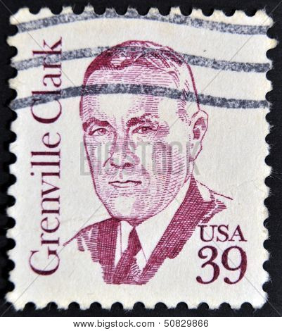 A stamp printed in USA shows Grenville Clark Statesman