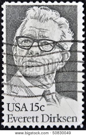 UNITED STATES - CIRCA 1981: A stamp printed in USA shows Everett Dirksen