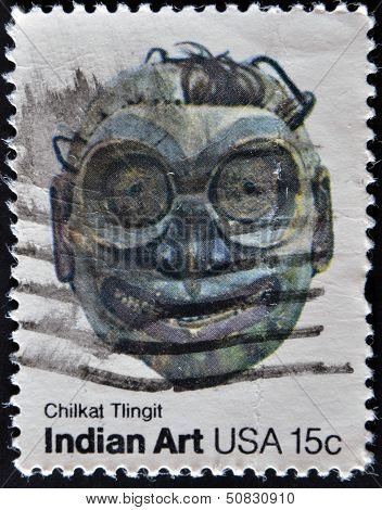 USA - CIRCA 1980 : A stamp printed in the USA shows chilkat tlingit Indian Art circa 1980