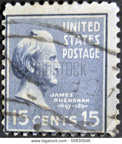 a stamp printed in USA shows James Buchanan 15th President of USA 1857-1861