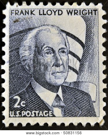 stamp printed by USA shows Frank Lloyd Wright was an American architect