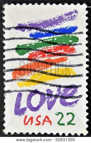 A stamp printed in USA shows image of the dedicated to the Love