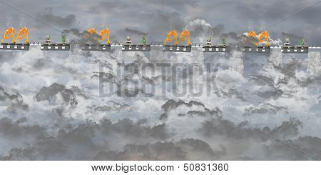 Platform with gray cloudy sky