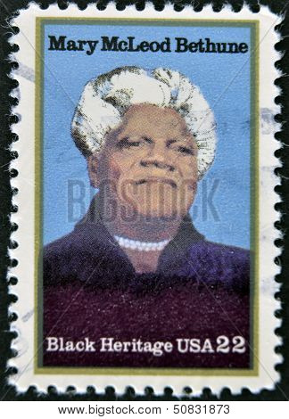 stamp printed in USA shows Mary McLeod Bethune African-American educator and civil rights leader