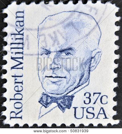 stamp printed in the USA shows Robert Andrews Millikan American experimental physicis