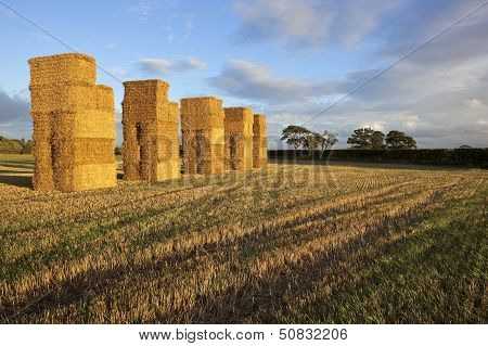 Straw Bales At Sunset