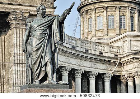 Statue And Kazan Cathedral, Saint Petersburg