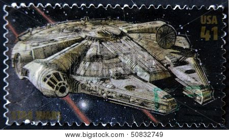 United States - Circa 2007: Stamp Printed In Usa Shows Star Wars, Millennium Falcon, Circa 2007