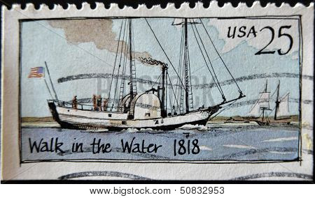United States - Circa 1989: A Stamp Printed In Usa Shows Steamboat, Walk In The Water, Circa 1989
