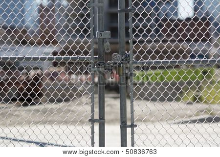 Gate Locked At Construction Site