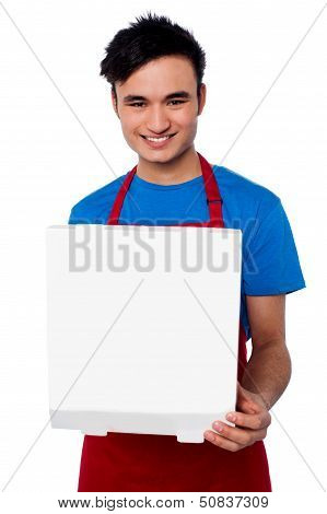 Guy Holding An Open Pizza Box