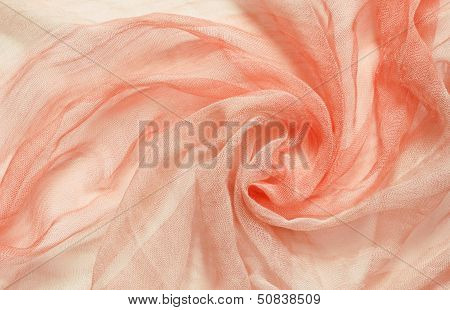 Peach Viscose Fabric With Circular Drapery