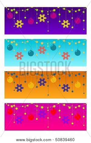 Four Colorful Christmas Headers