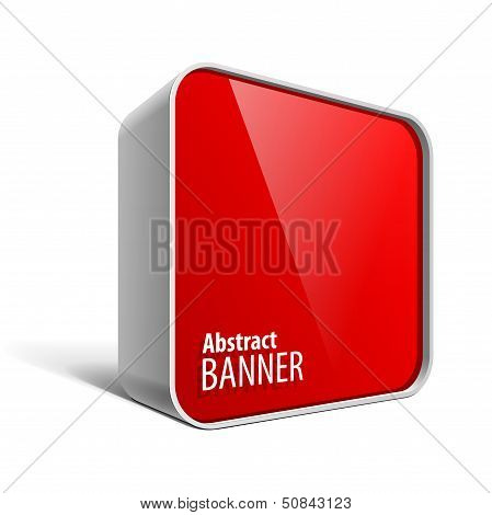 Shiny gloss red vector banner in the form of a square box with rounded corners. eps 10