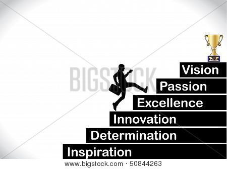 A Professional Businessman Running Up The Stairs With The Text Inspiration, Determination Innovation