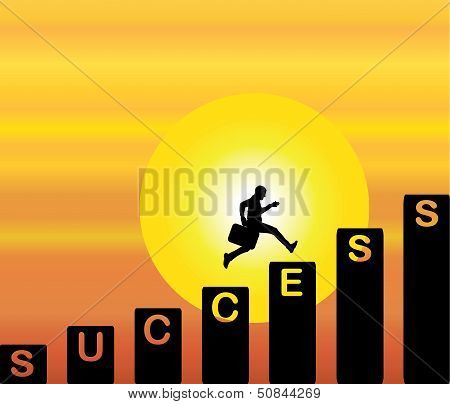 Professional Businessman Running Up The Stairs With Text Success With Bright Orange sky and big sun