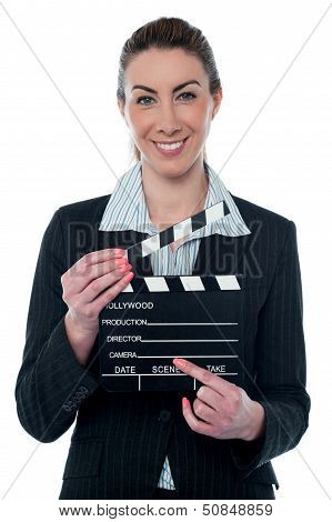 Pretty Business Lady With Clapperboard