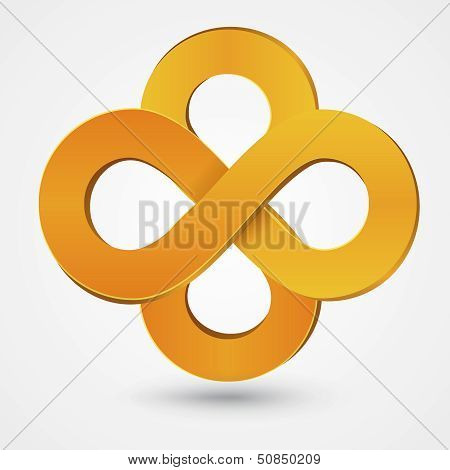 Abstract double infinity orange sign