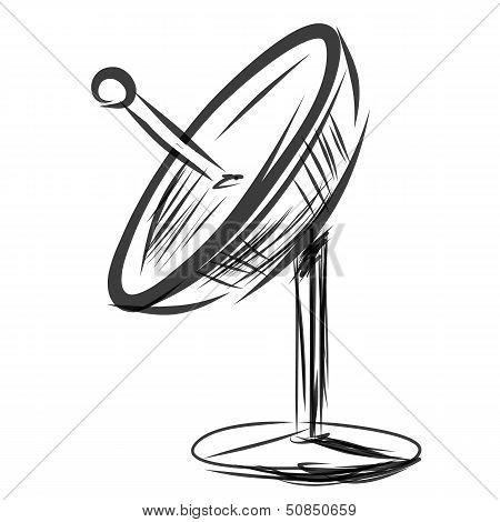 Satellite dish. Sketch vector illustration