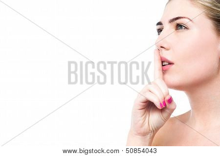Beauty Woman Gesturing Silence