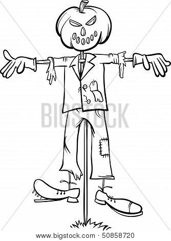 Scarecrow Cartoon For Coloring Book