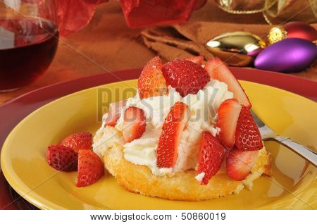 Strawberry Shortcake On A Holiday Table