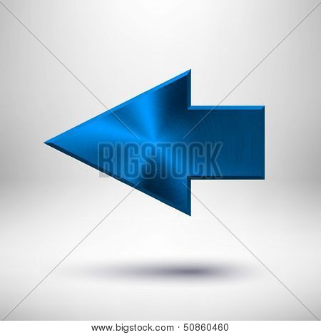 Left Arrow Sign with Blue Metal Texture
