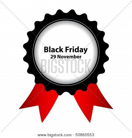 Vector Black Friday Label With Ribbons
