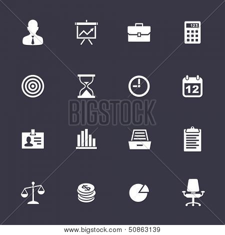 Business Icons. Clean vector icons on black