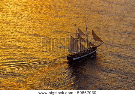 Sailing ship in the evening