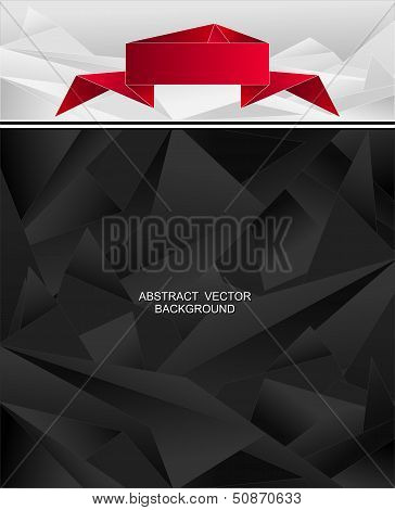 Abstract geometric background with origami ribbon