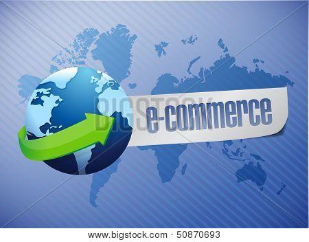 E Commerce. World Map Illustration Design