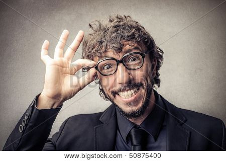 portrait of funny man with big glasses