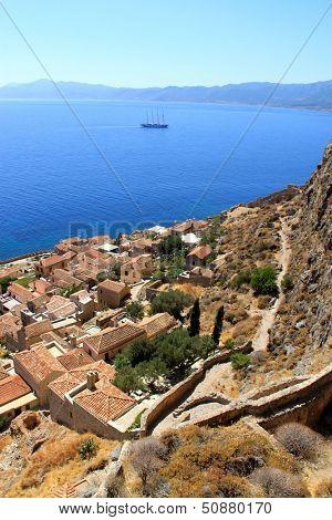 Overlooking the city of Monemvasia, Greece