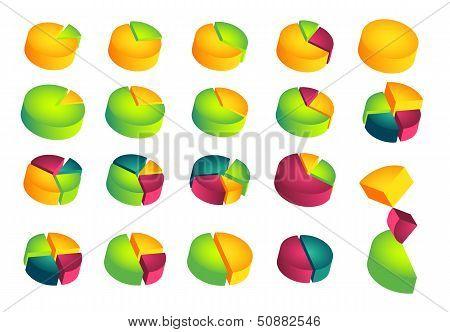 Set of 3D pie diagrams