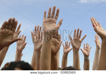 Hands Up: Group of people lifting hands