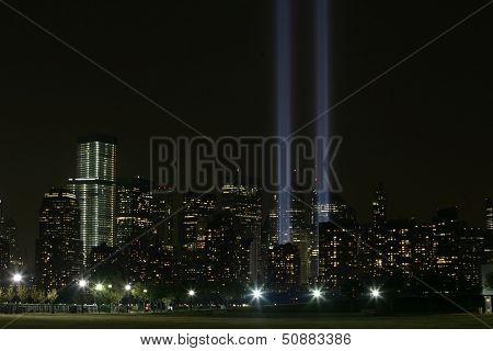 NEW YORK - SEPTEMBER 11: The Tribute in Light installation is seen in lower Manhattan on September 11, 2013 in New York City.