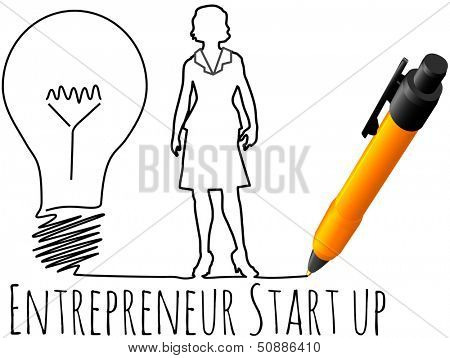 Business plan drawing of female entrepreneur startup idea light bulb