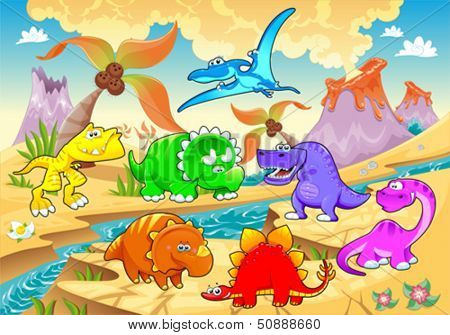 Dinosaurs rainbow in landscape. Funny cartoon and vector illustration
