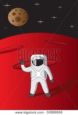 Illustration of cosmonaut on mars. Raster version of EPS id:30621511.