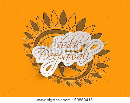 Subh Deepawali (Happy Depawali) tag, label or sticky on floral decorated background for Diwali festival celebration in India.