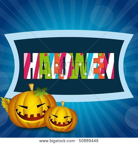 Scary Halloween night background, banner or poster for trick or treat party with colorful text and scary pumpkins.