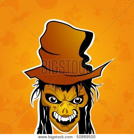 Scary vintage halloween poster, banner or background with smiling zombie.