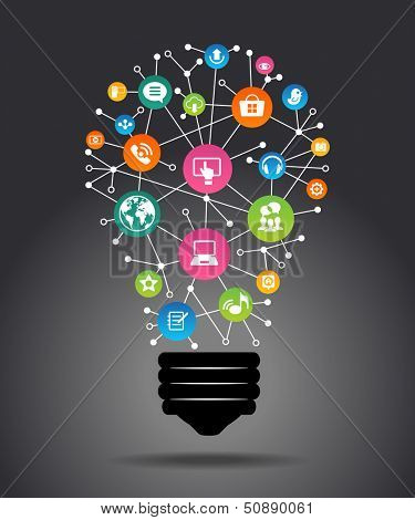 Modern infographic template. Creative light bulb with application icon. Business software and social poster
