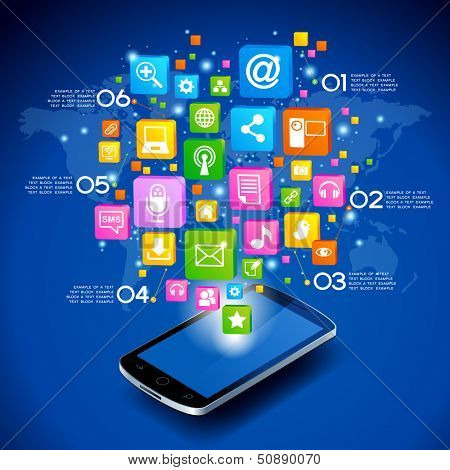 Mobile phone with cloud of application icons, ??oncept network. Creative Business infographics and Information technology concept, Vector illustration modern template design.