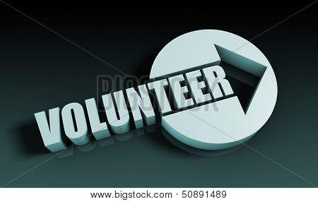 Volunteer Concept With an Arrow Going Upwards 3D