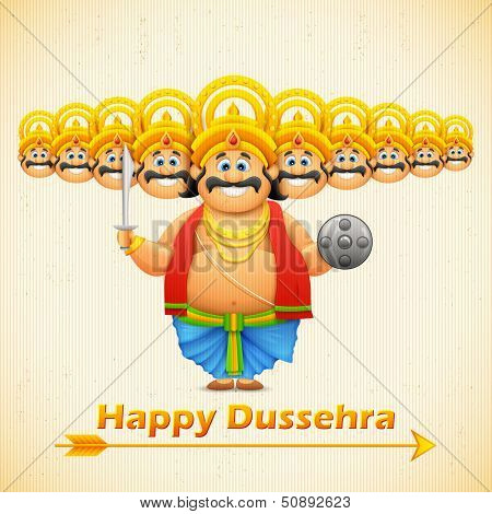illustration of Ravana with ten heads for Dussehra