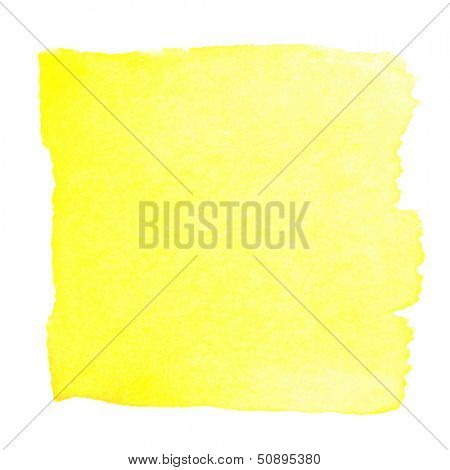 Abstract watercolor art hand paint isolated on white background. Watercolor stains. Square lemon yellow watercolor banner