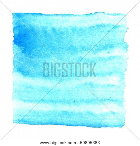 Abstract watercolor art hand paint isolated on white background. Watercolor stains. Square vibrant blue watercolor banner